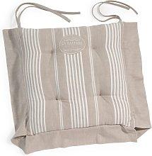 Cojín para silla de rayas de algodón beige