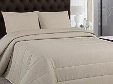 Colcha cubrecama PERIGORD 230x250cm + 2 fundas de almohada de 60x60cm - Gris arenoso