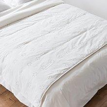Colcha de algodón blanco bordado con estampado