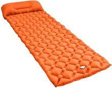 Colchón de aire inflable con almohada naranja