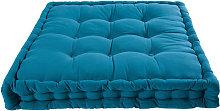 Colchón de algodón azul petróleo 90x90 cm