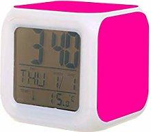 Color sólido rosa LED reloj despertador digital