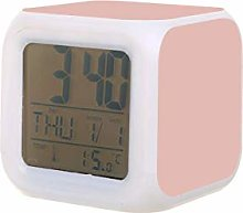 Color sólido rosa oro rosa LED reloj despertador