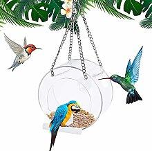 Comedero para pájaros transparente para colgar al