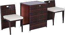 Conjunto 1 Mesa y 2 Sillas Mueble Mimbre Ratan
