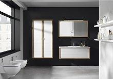 Conjunto baño de mueble + lavabo + espejo 100