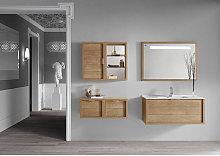 Conjunto baño de mueble + lavabo + espejo 80 Tino