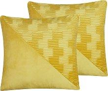 Conjunto de 2 cojines amarillo 45 x 45 cm ORIGANUM