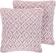 Conjunto de 2 cojines decorativos rosa 45x40 cm