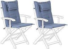 Conjunto de 2 cojines para silla de jardín azul