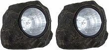 Conjunto de 2 diseño de piedra LED lámpara solar