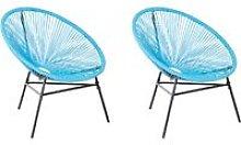Conjunto de 2 sillas de balcón de ratán azul