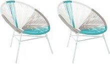 Conjunto de 2 sillas de balcón de ratán gris