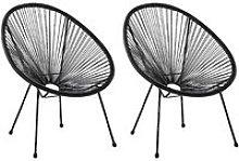 Conjunto de 2 sillas de balcón de ratán negro