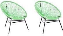 Conjunto de 2 sillas de balcón de ratán verde