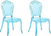 Conjunto de 2 sillas de comedor azul transparente