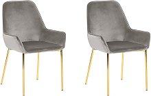 Conjunto de 2 sillas de comedor de terciopelo gris
