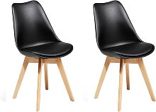 Conjunto de 2 sillas de comedor en negro DAKOTA II