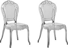 Conjunto de 2 sillas de comedor negro transparente