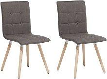 Conjunto de 2 sillas de comedor tapizadas marrón