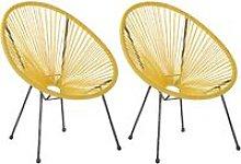 Conjunto de 2 sillas de ratán amarillo ACAPULCO II