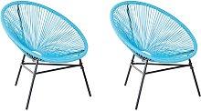 Conjunto de 2 sillas de ratán azul ACAPULCO