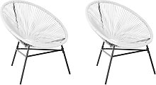 Conjunto de 2 sillas de ratán blanco ACAPULCO