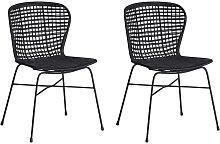 Conjunto de 2 sillas de ratán de comedor negro