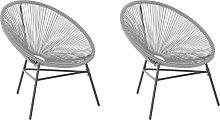 Conjunto de 2 sillas de ratán gris claro ACAPULCO