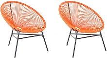 Conjunto de 2 sillas de ratán naranja ACAPULCO