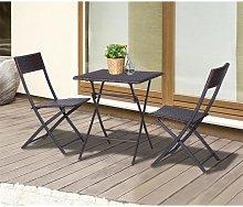 Conjunto de 2 sillas y mesa plegable Ratán
