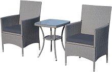 Conjunto de 2 sillas y mesa Ratán gris Outsunny