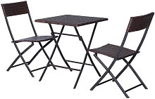 Conjunto de 2 sillas y mesa Ratán marrón Outsunny