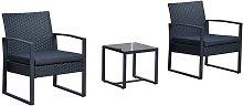 Conjunto de 2 sillones y mesa Ratán Outsunny