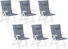 Conjunto de 6 cojines azules para la silla TOSCANA
