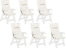 Conjunto de 6 cojines para silla de jardín crema