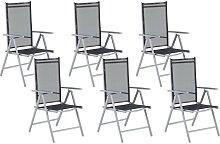Conjunto de 6 sillas de jardín negras en aluminio