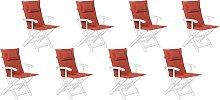 Conjunto de 8 cojines terracota para silla de