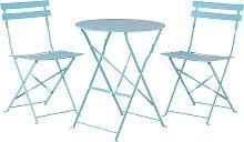 Conjunto de balcón mesa y 2 sillas azul FIORI