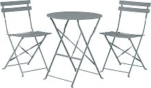 Conjunto de balcón mesa y 2 sillas gris FIORI