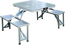 Conjunto de camping de mesa y 4 asientos aluminio