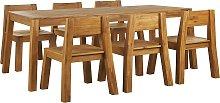 Conjunto de jardín de madera de acacia mesa y