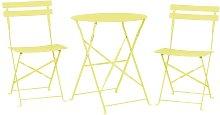 Conjunto de jardín mesa y 2 sillas amarillo FIORI