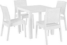 Conjunto de jardín mesa y 4 sillas blanco FOSSANO