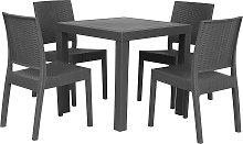 Conjunto de jardín mesa y 4 sillas gris FOSSANO