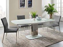 Conjunto de mesa + 4 sillas TALICIA - Blanco y gris