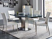Conjunto de mesa + 4 sillas TALICIA - Gris y blanco