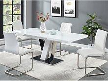 Conjunto de mesa + 4 sillas WESTON - Negro y blanco