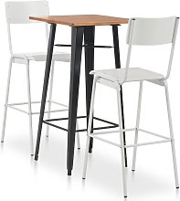 Conjunto de mesa alta y taburetes 3 pzas acero