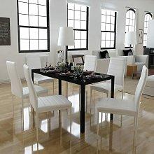 Conjunto de mesa de comedor 7 piezas blanco y